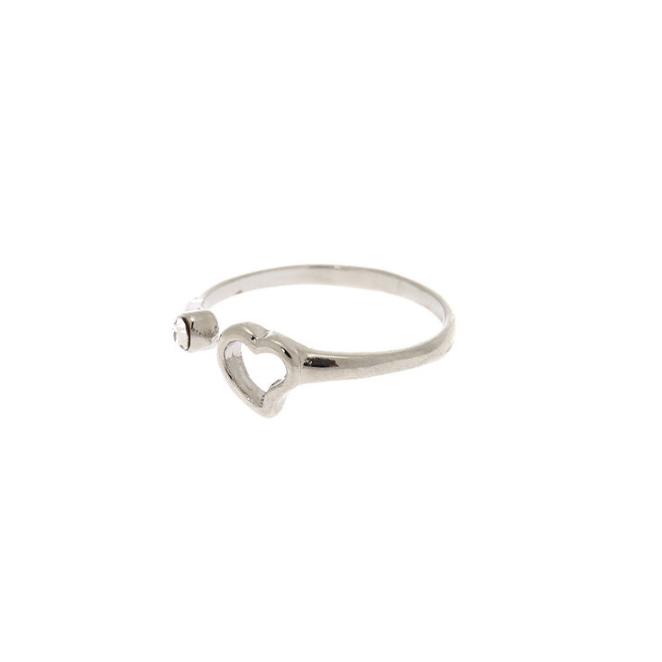 Silver Open Heart Ring,