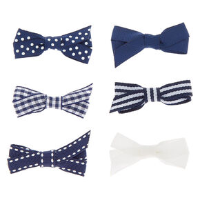 Claire's Club Mixed Pattern Hair Bow Clips - Navy, 6 Pack,