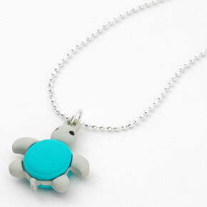 Macaron Turtle Pendant Necklace - Turquoise,