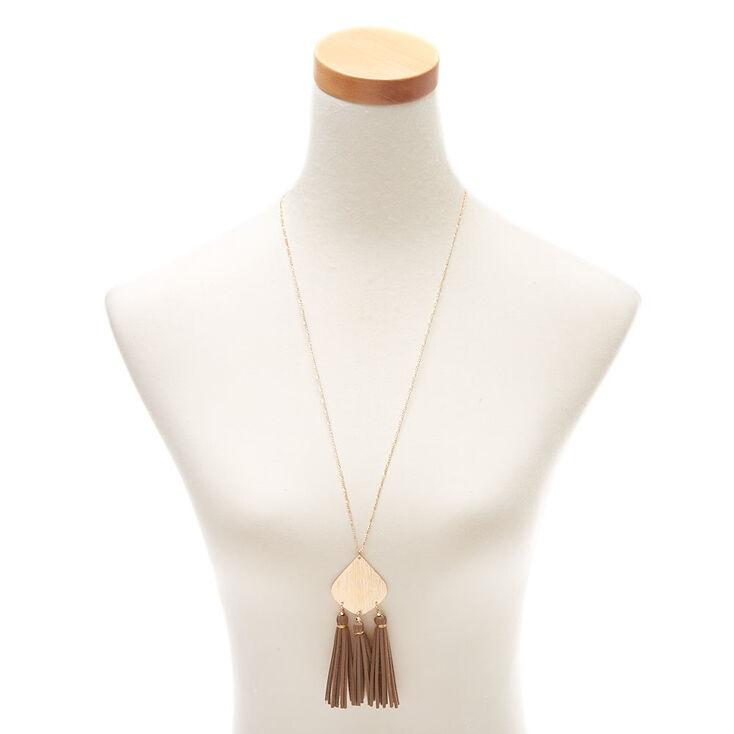 Gold Suede Tassel Long Pendant Necklace,