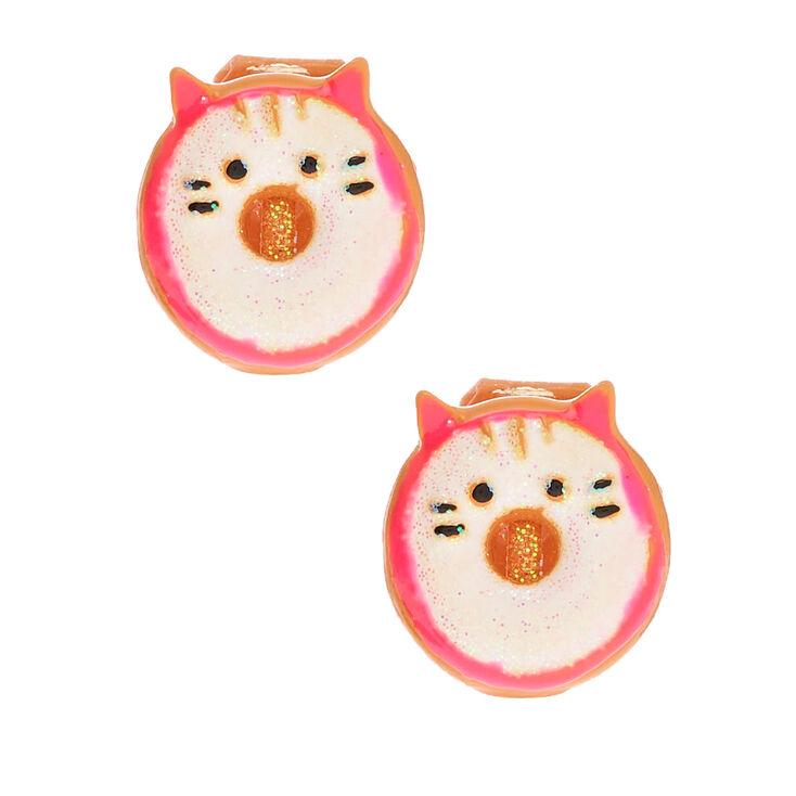 Glitter Cat Donut Clip On Earrings - White,