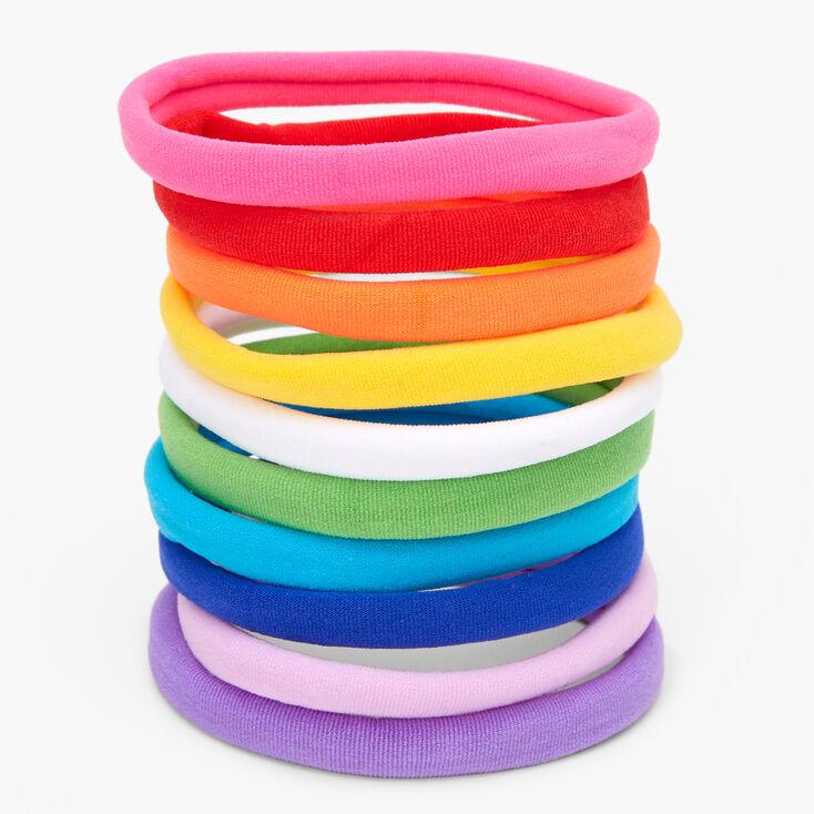 Neon Rainbow Rolled Hair Ties - 10 Pack,