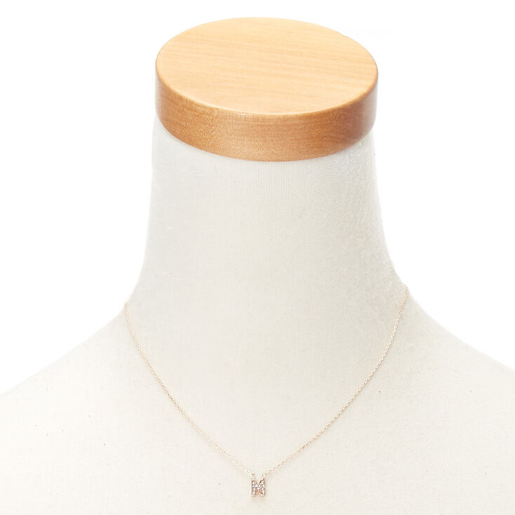 Rose Gold Embellished Initial Pendant Necklace - M,