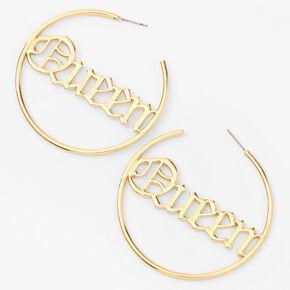 Gold 60MM Queen Script Hoop Earrings,