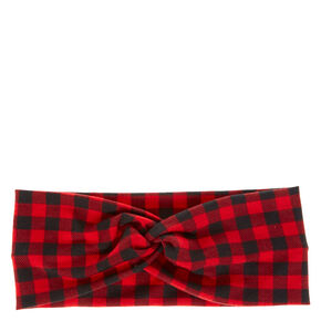Buffalo Check Twisted Headwrap - Red,