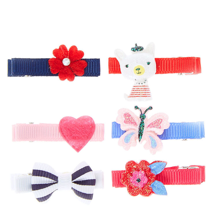 Claire's Club Ribbon Hair Clips - 6 Pack,