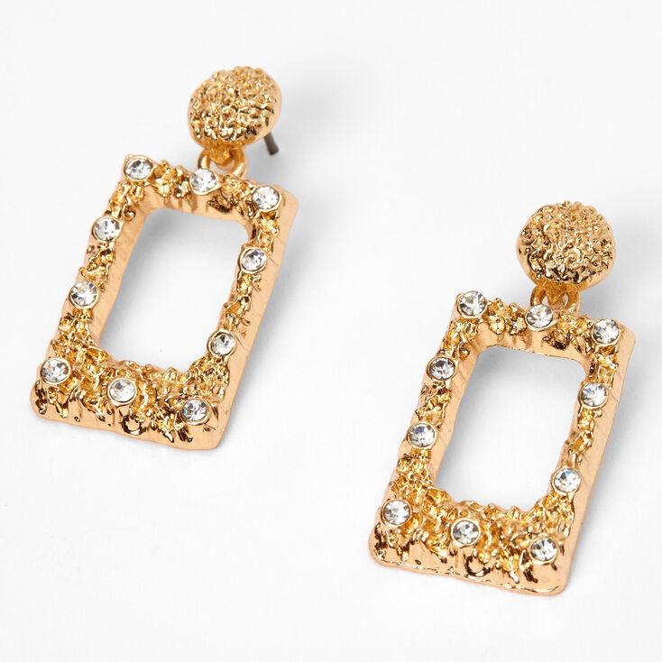 """Gold 1"""" Rectangle Textured Door Knocker Drop Earrings,"""