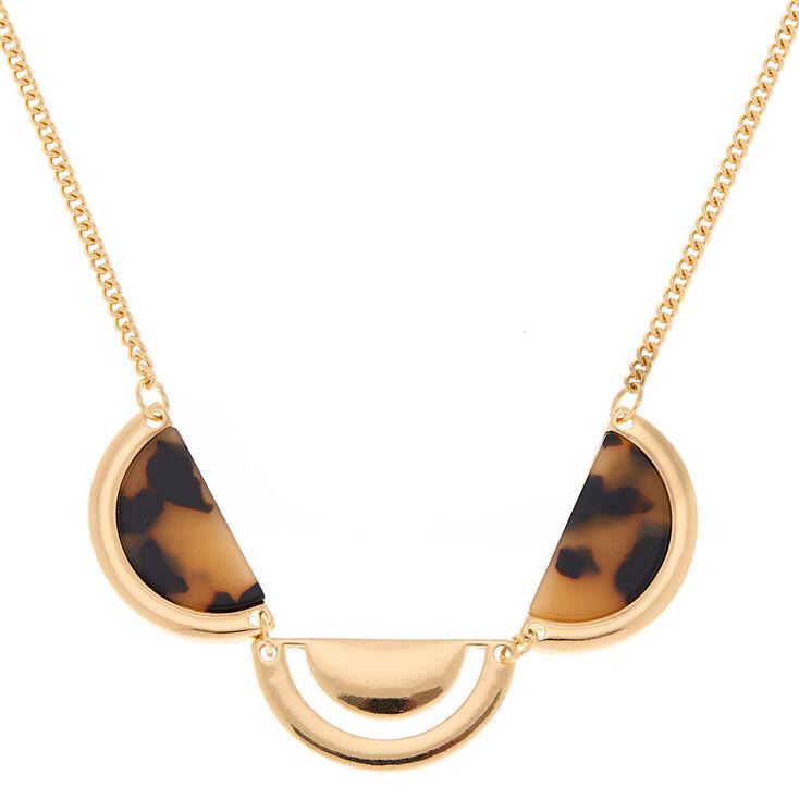 Gold Resin Tortoiseshell Half Moon Statement Necklace,