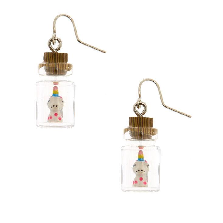 Unicorn In A Bottle Drop Earrings,