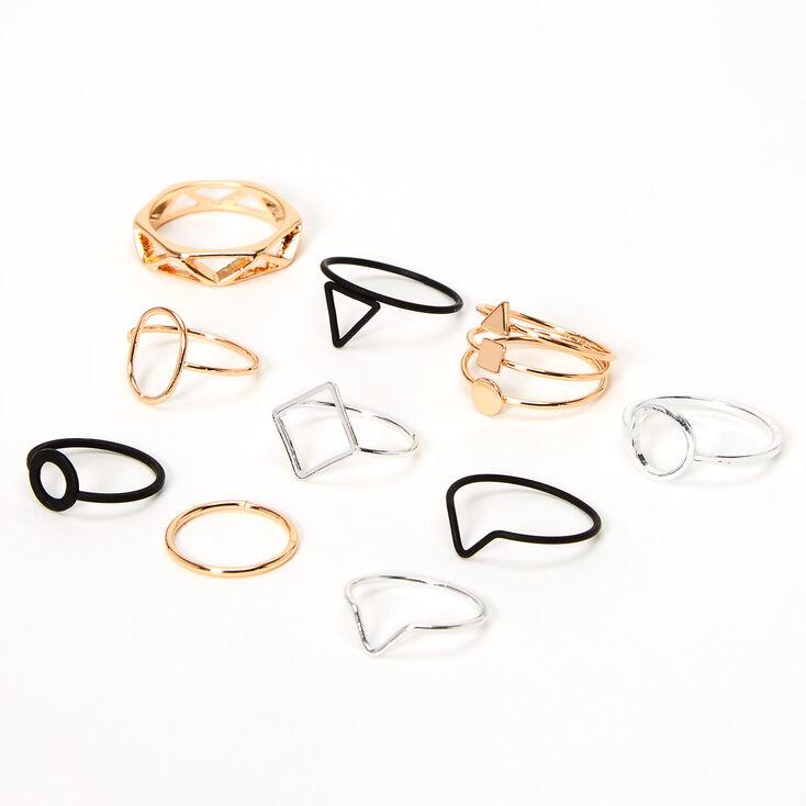 Mixed Metal Geometric Rings - 10 Pack,