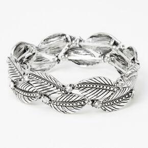 Anqitue Silver Rhinestone Leaves Stretch Bracelet,