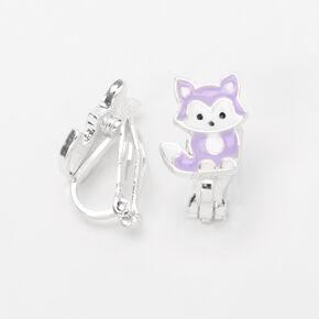 Pastel Purple Fox Clip-On Stud Earrings,