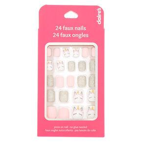 Unicorn Glitter Square Press On Faux Nail Set - 24 Pack,