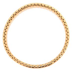 Gold Rectangle Link Stretch Bracelet,