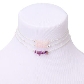 Silver Stone Choker Necklaces - Purple, 3 Pack,