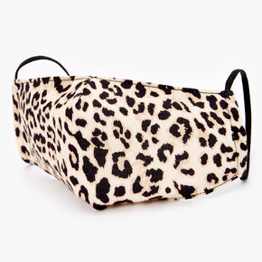 Masque en coton imprimé léopard couleur crème - Adulte,
