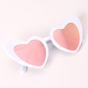 Heart Cat Eye Sunglasses - White,