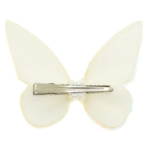 Holographic Glitter Butterfly Mini Hair Clip - White,