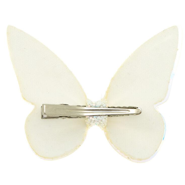 Mini barrette à papillon pailleté holographique - Blanc,