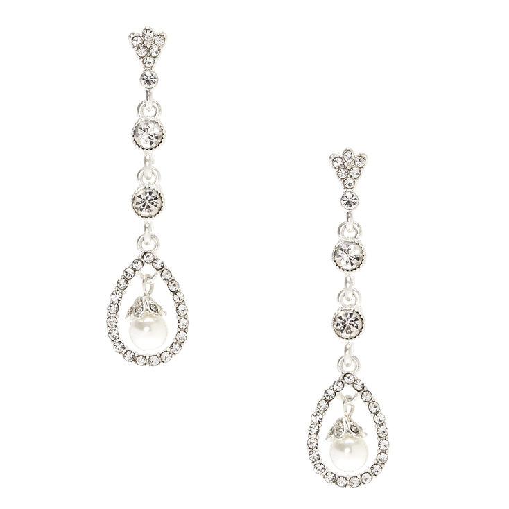 "Silver 2"" hinestone Glass Pearl Drop Earrings,"