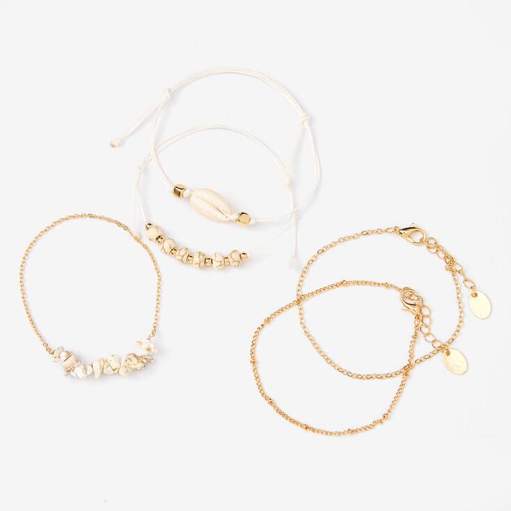 Bracelets chaînes coquillages effet marbré couleur dorée - Blanc, lot de 5,