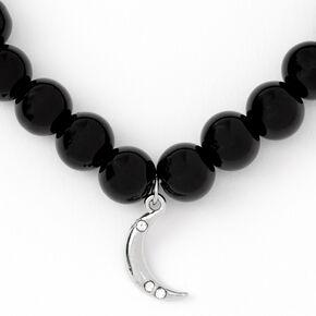 Bracelet élastique perlé lune couleur argentée - Noir,