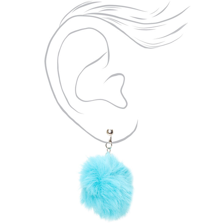 "Silver 1.5"" Pom Pom Clip On Drop Earrings - Teal,"