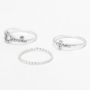 Silver Key Heart & Cross Midi Rings - 3 Pack,