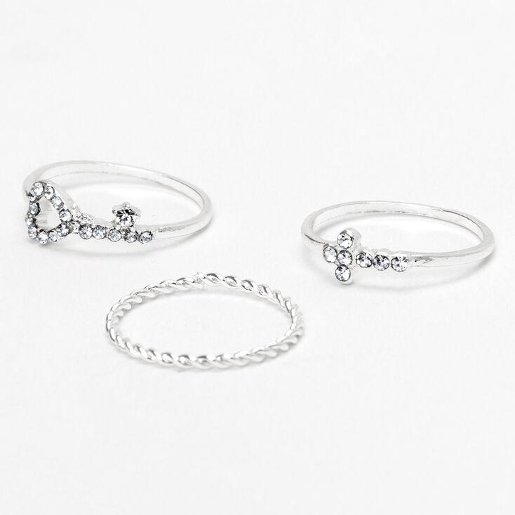 Silver Key Heart & Cross Midi Rings - 3 Pack,