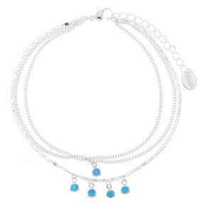 Silver Boho Chic Anklet - Turquoise,