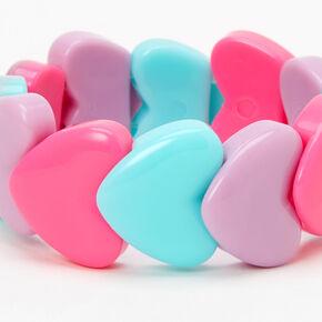 Claire's Club Heart Beaded Stretch Bracelet - Lilac,