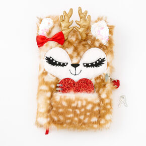 Noelle the Deer Furry Lock Diary - Red,