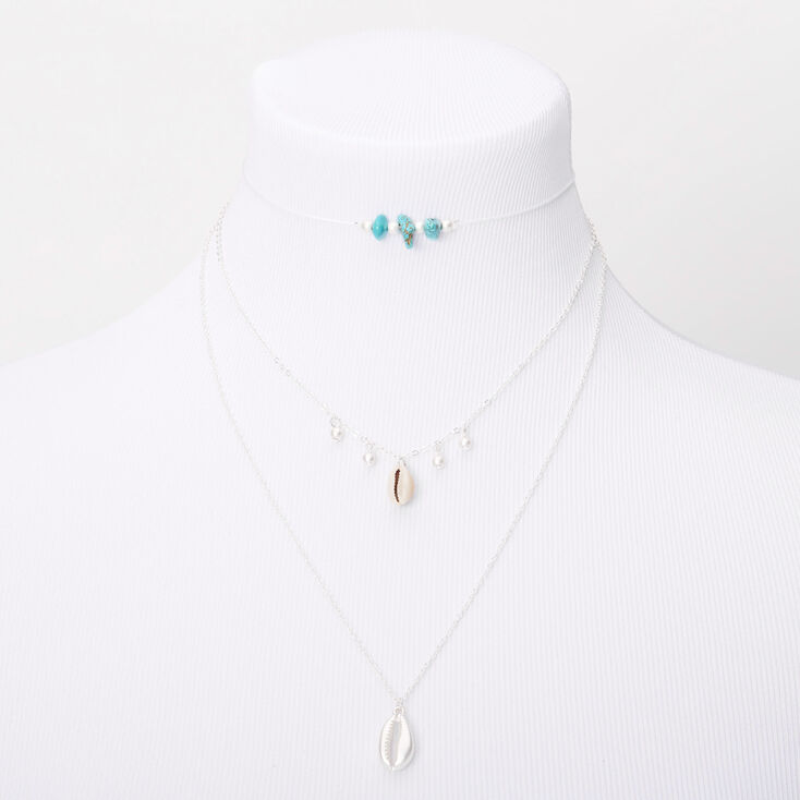 Turquoise Beaded Cowrie Shell Multi Strand Choker Necklace,