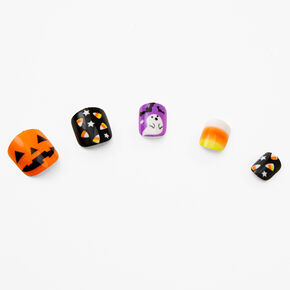 Halloween Icons Square Faux Nail Set - 24 Pack,