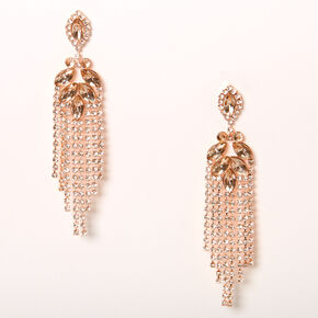 "Rose Gold 2.5"" Leaf Cascade Drop Earrings,"