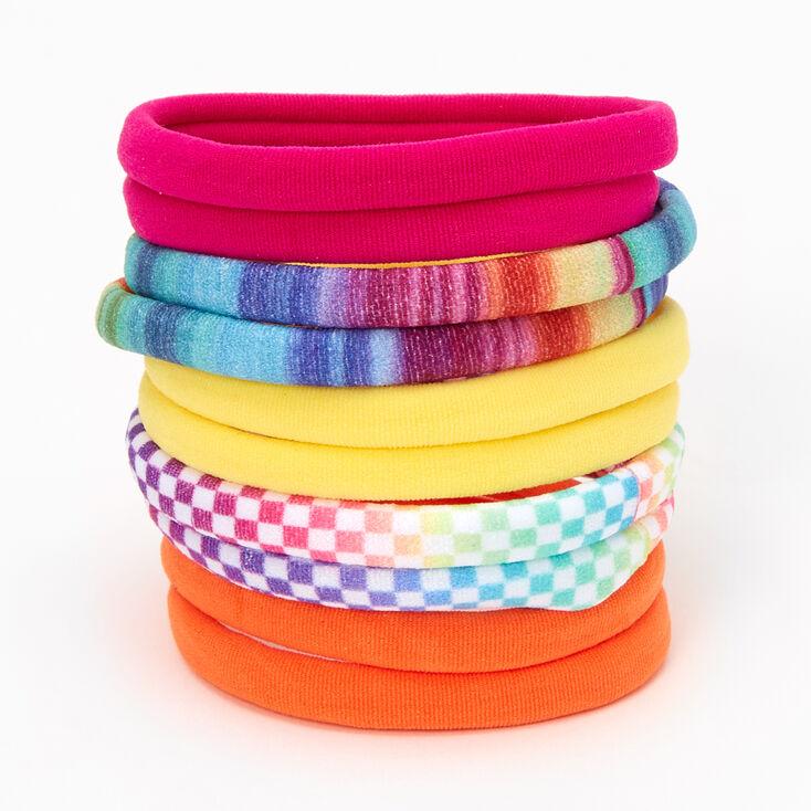 Rainbow Checks & Stripes Rolled Hair Ties - 10 Pack,
