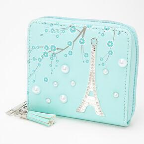 Paris Pearl Mini Zip Wallet - Mint,