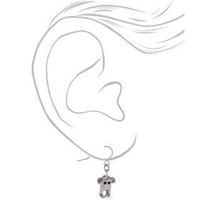 "Silver 1"" Elephant Drop Earrings,"