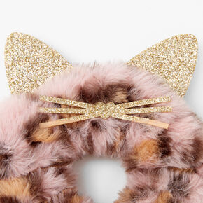 Medium Faux Fur Leopard Hair Scrunchie - Pink,