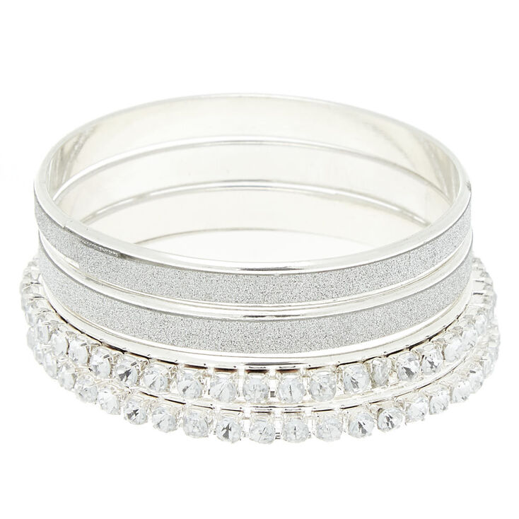 Claire's Club Crystal Glitter Bangle Bracelets - 4 Pack,