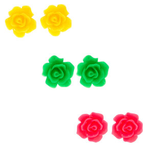 Silver Neon Rose Stud Earrings - 3 Pack,