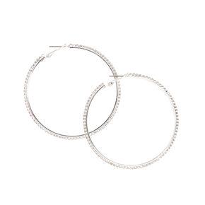 Thin Silver Glass Rhinestone Hoop Earrings,