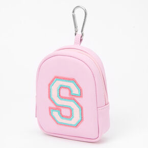 Pink Varsity Initial Mini Backpack Keychain - S,