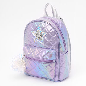 Quilted Star Small Backpack - Purple,