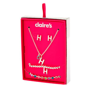 Silver Rainbow Initial Jewellery Gift Set - H, 4 Pack,