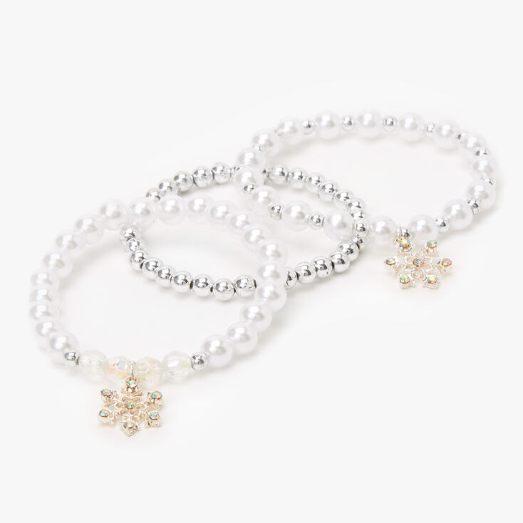 Claire's Club Pearl and Silver Snowflake Stretch Bracelets - 3 Pack,