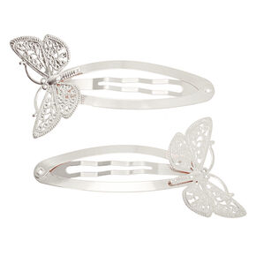 Silver Butterfly Jumbo Snap Hair Clips - 2 Pack,