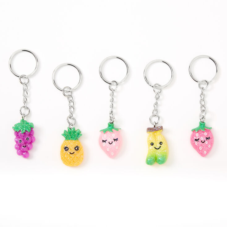 Best Friends Mixed Smiley Fruit Keychains - 5 Pack,