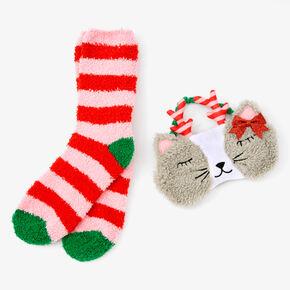 Striped Cat Sleeping Mask & Crew Socks Set - 2 Pack,