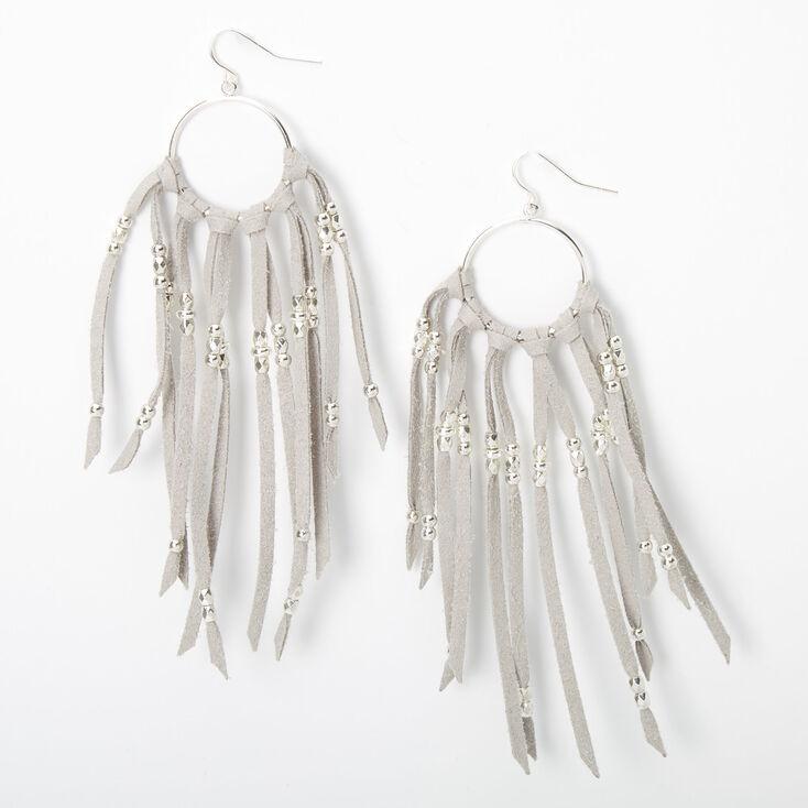 """Silver 4"""" Suede Tassel Circle Drop Earrings - Grey,"""